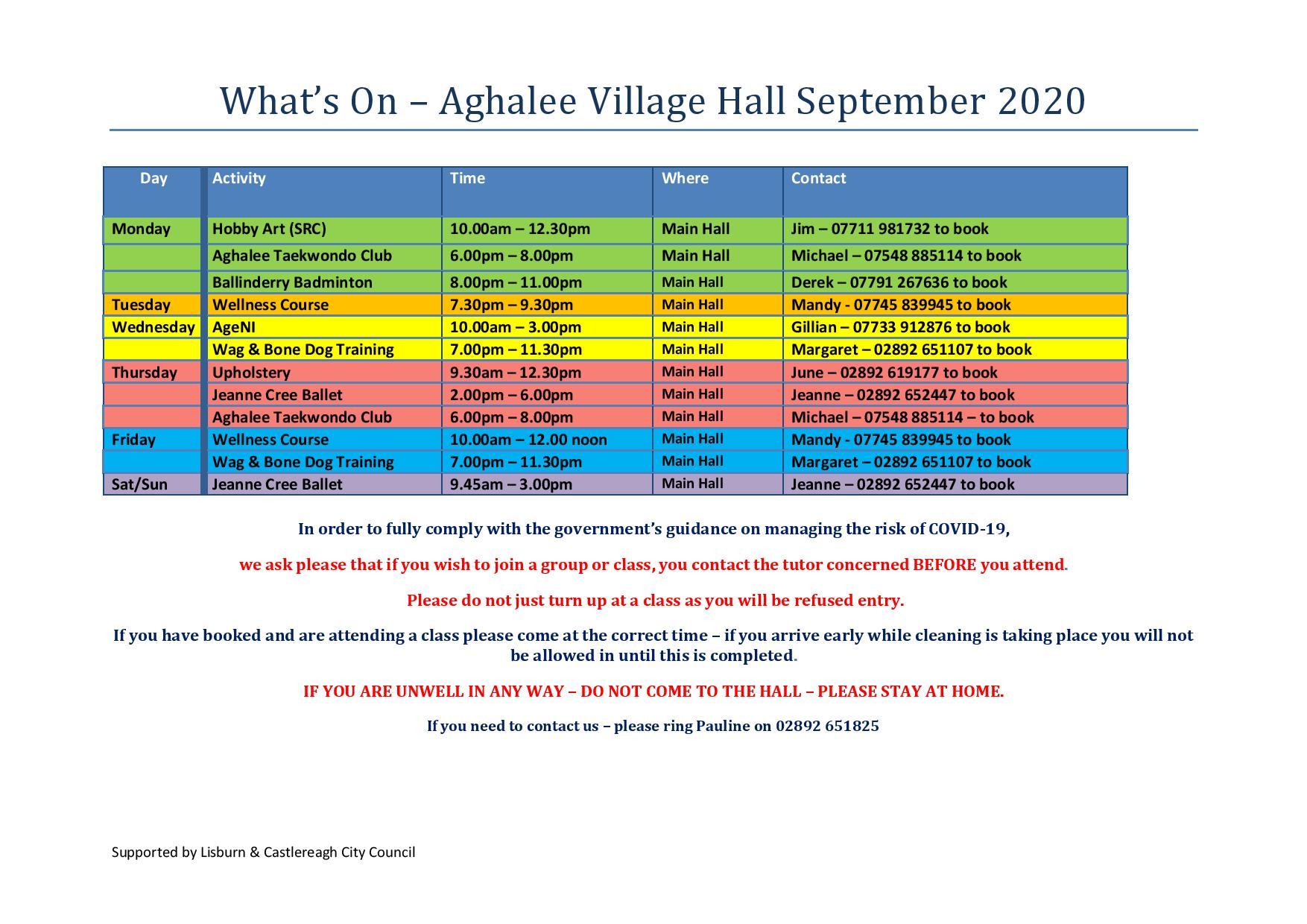 What's On in Aghalee Village Hall Sept 2020